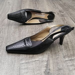 Bruno Magli Cei Leather Slingback Pumps 38
